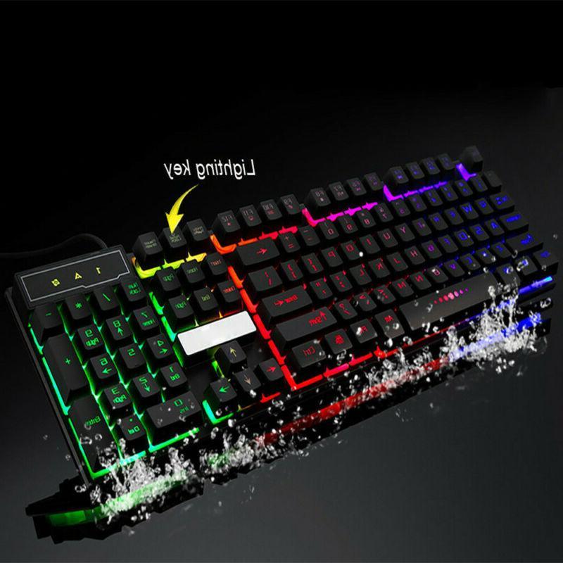 Computer Desktop Keyboard PC Feel Led Light Backlit