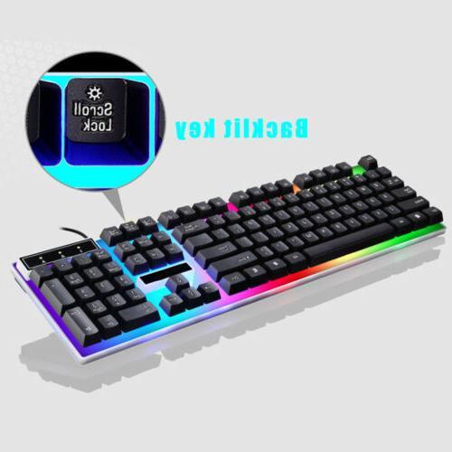 LED Mouse Set Breathable Light Backlit for PC