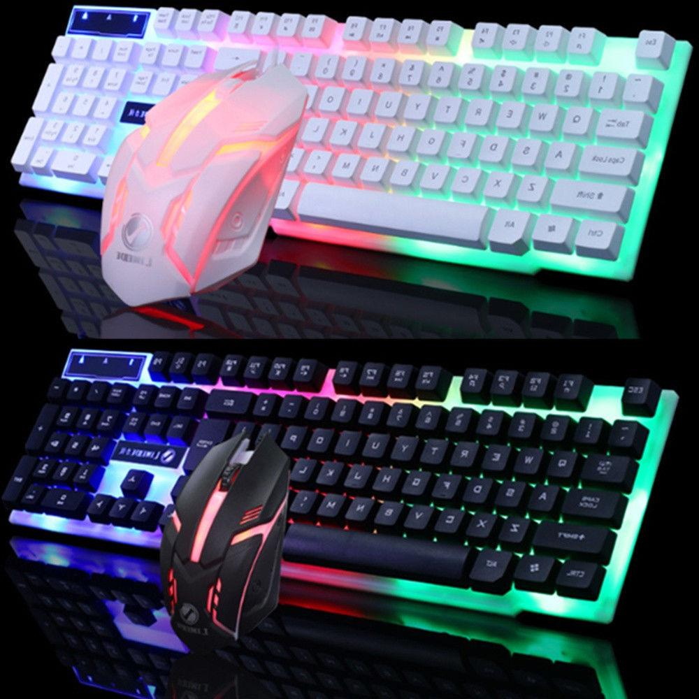 led glowing computer desktop wired mechanical keyboard