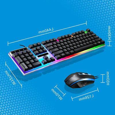 LED Rainbow Backlight USB Wired Keyboard Set