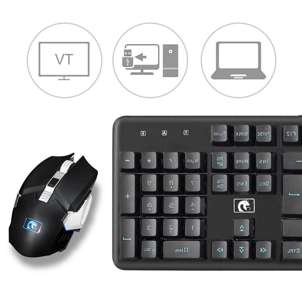 LED Keyboard Mouse Wireless Backlight