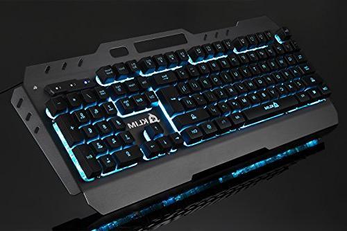 KLIM Lightning Gaming - Semi Led 7 Light Up, Frame, Mac Keyboards Computer Membrane Gamer USB RGB Rainbow