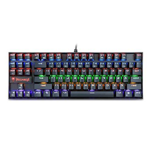 Redragon Gaming Keyboard 87 Keys Compact Keyboard USB Wired Blue Switches for - Black