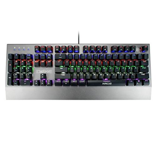 ENHANCE Mechanical Keyboard - Red 104 Keys Pro Series FPS/MOBA Metal - Ghosting, N-Key Modes Keyboard