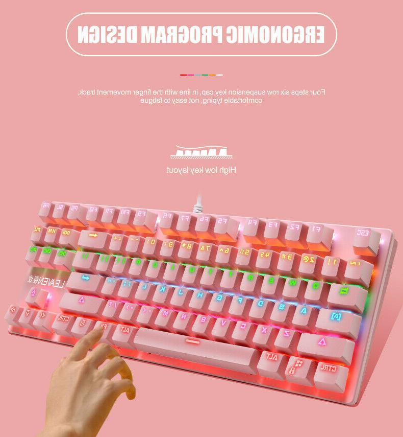 Mechanical Keyboard LED Backlit Wired Keyboard Mac