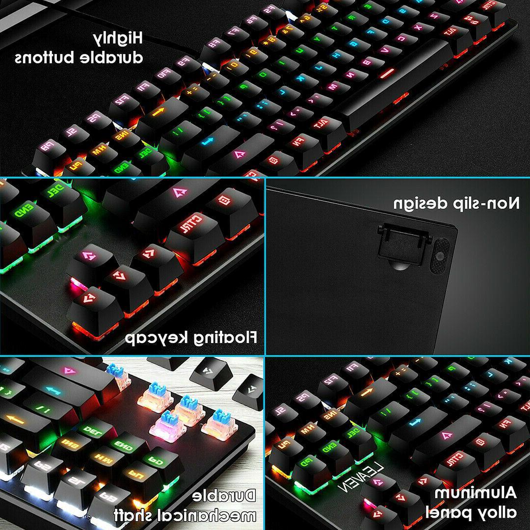 Mechanical Gaming LED Rainbow Backlit Wired Keyboard PC Mac