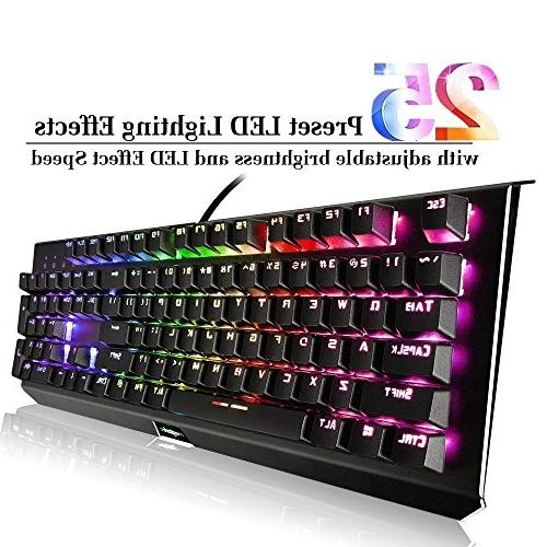 Mechanical Keyboard,Backlit Wired RGB 25 Lighting for and Gamers