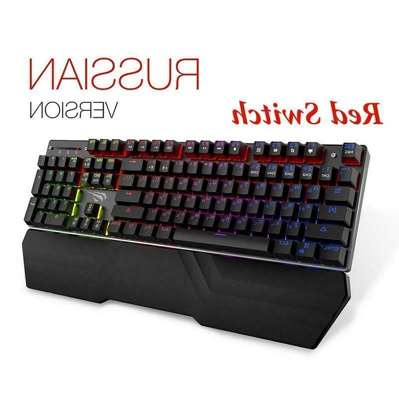 mechanical keyboard gaming 104 keys blue red