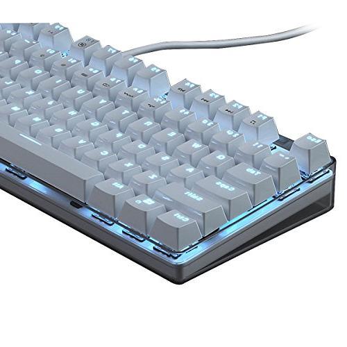 Qisan Mechanical Keyboard Keyboard Full Size GATERON switch Ice Backlight Case White Magicforce