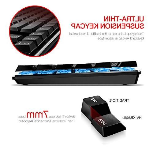 Mechanical Keyboard HAVIT Backlit Wired Gaming Extra-Thin & Light, Latest Low Switches, 104 Rollover HV-KB395L