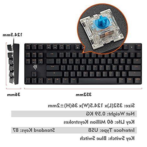 Mechanical Keyboard, X52 87 Mechanical Keyboard, Easy to 29 Rollover, Switch, Keys Gamers/Office
