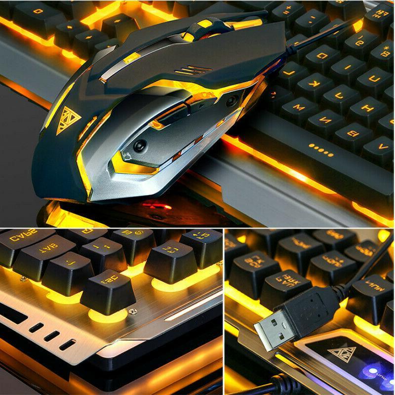 US Mechanical Cable Ergonomic Mechanical Keyboard+Mouse Set