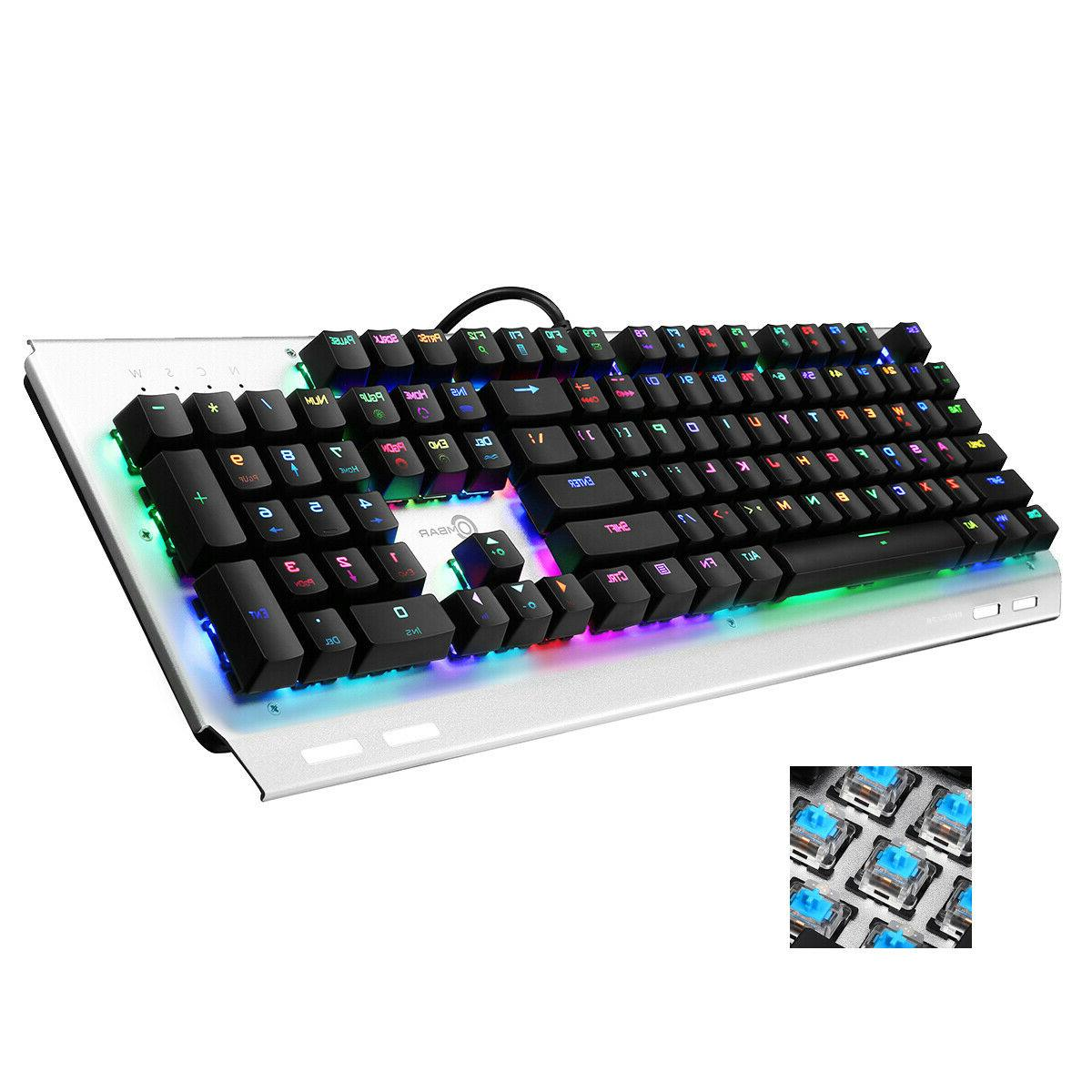 Mechanical Keyboard RGB Wired Backlit Ergonomic Gaming Keybo