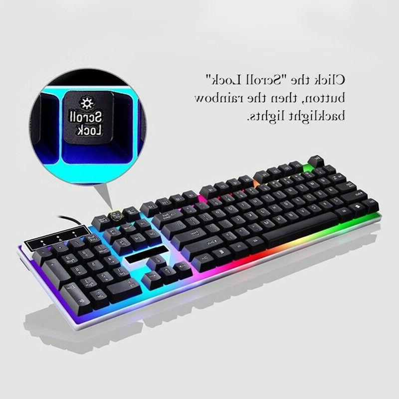 mechanical wired gaming keyboard and mouse colorful