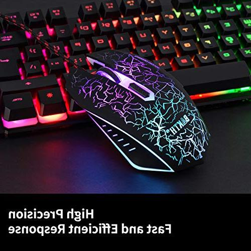 BAKTH LED Backlit Mechanical USB Wired Keyboard and Mouse for Working or