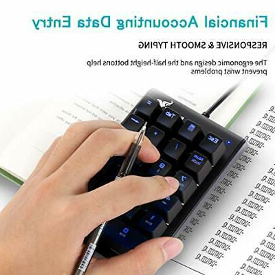 Number Pad, Wired Keypad with Blue