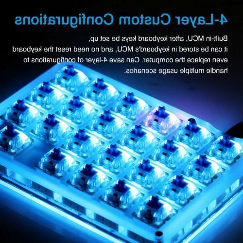 Blue Backlit ​Mechanical Keyboard​ Fully Keys Mini Keypad