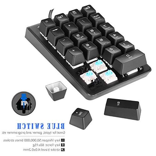 Number Pad, USB Wired Numeric Keypad with LED 22-Key Numpad for Laptop Black