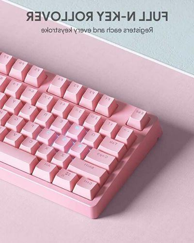 pink mechanical gaming keyboard with customizable rgb