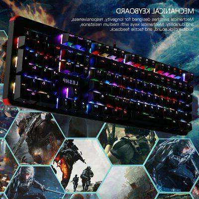 Computer Desktop Gaming Keyboard  Mechanical Feel Led Light