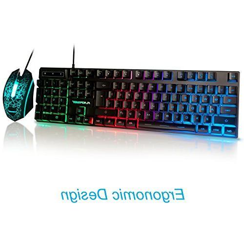 FLAGPOWER Rainbow LED Mechanical Feeling Gaming and Combo 3
