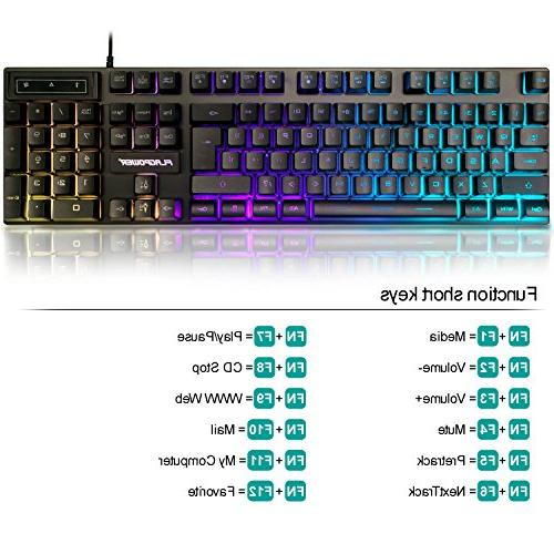 FLAGPOWER Rainbow LED Backlit and Mouse for Working or Game 3 Adjustable