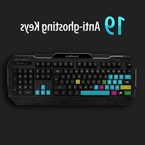 LumsBurry Rainbow LED USB Keyboard with Anti-ghosting Keys and Multimedia