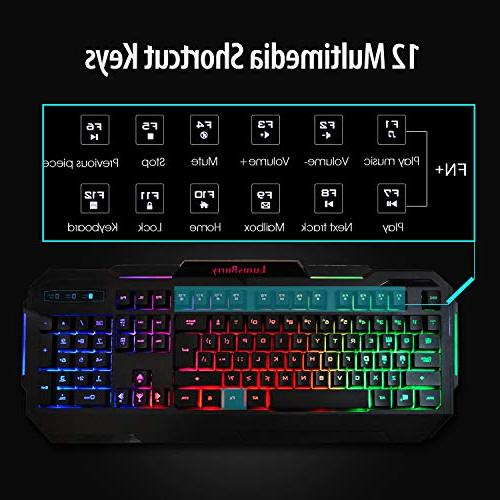 LumsBurry Rainbow LED USB Wired Gaming Keyboard and Multimedia