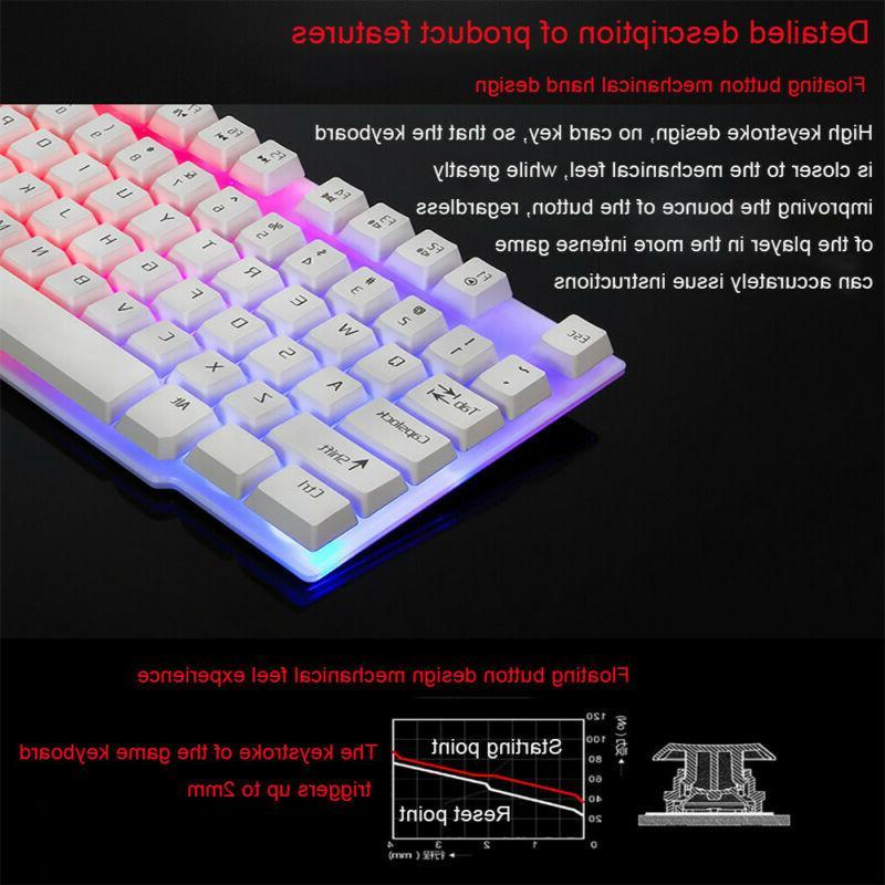 Rainbow LED Backlit Wired Mechanical Feeling Multimedia Gaming Keyboard PC