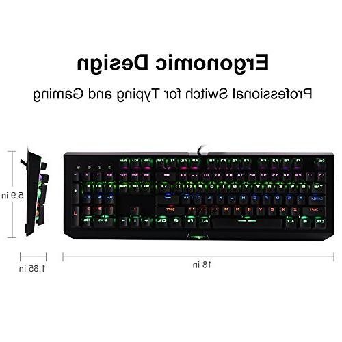 Rainbow Gaming Keyboard, 104 LED Backlit Customizable with 9 PC Gamers