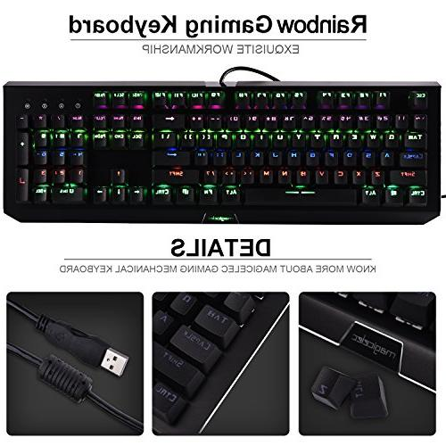 Rainbow Mechanical Keyboard, USB 104 LED with 9 PC Gamers