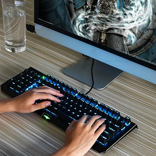 Rainbow USB Gaming with 104 Anti-Ghosting Keys-Clicky LED Backlit with PC