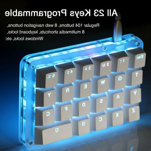 Blue Backlit ​Mechanical Keyboard​ 23 Programmable Keys
