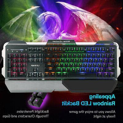 rgb 7 colour led gaming mechanical keyboard