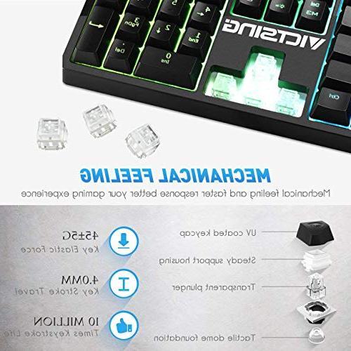 VicTsing Wired Gaming Keyboard, Mechanical Feeling Gaming Keyboard Anti-ghosting,12 Multimedia Keys, Spill-Resistant Design for PC/Laptop/Desktop, Black