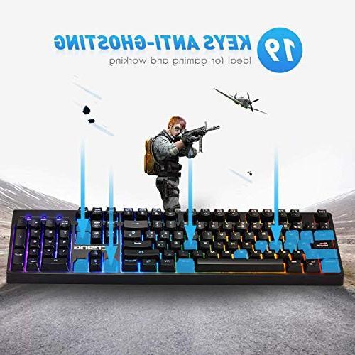 VicTsing RGB Backlit Wired Gaming Keyboard, Mechanical Feeling Gaming Keyboard Multimedia