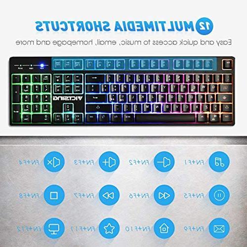 VicTsing Backlit Gaming Keyboard, Feeling Multimedia