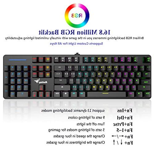 RGB Mechanical Keyboard, Rottay 16.8 RGB Wired Mechanical Gaming Keyboard Anti-Ghosting and For PC&Mac Gamers Typist