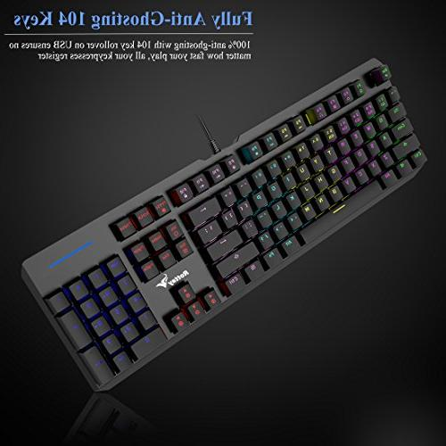 RGB Rottay 16.8 Million Backlit Wired with Blue Anti-Ghosting and For Typist