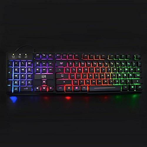Rii RK100+ Color Rainbow LED Size USB Mechanical Feeling Gaming Keyboard