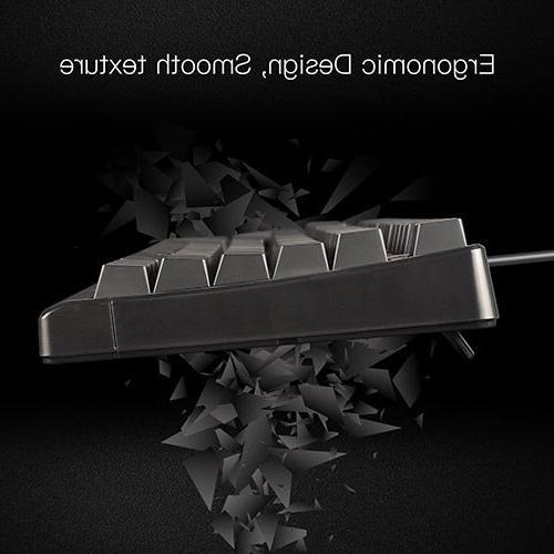 LASITI Semi Mechanical Keyboard, 104 3 Colors LED Wired Fake Mechanical Keyboard with 19