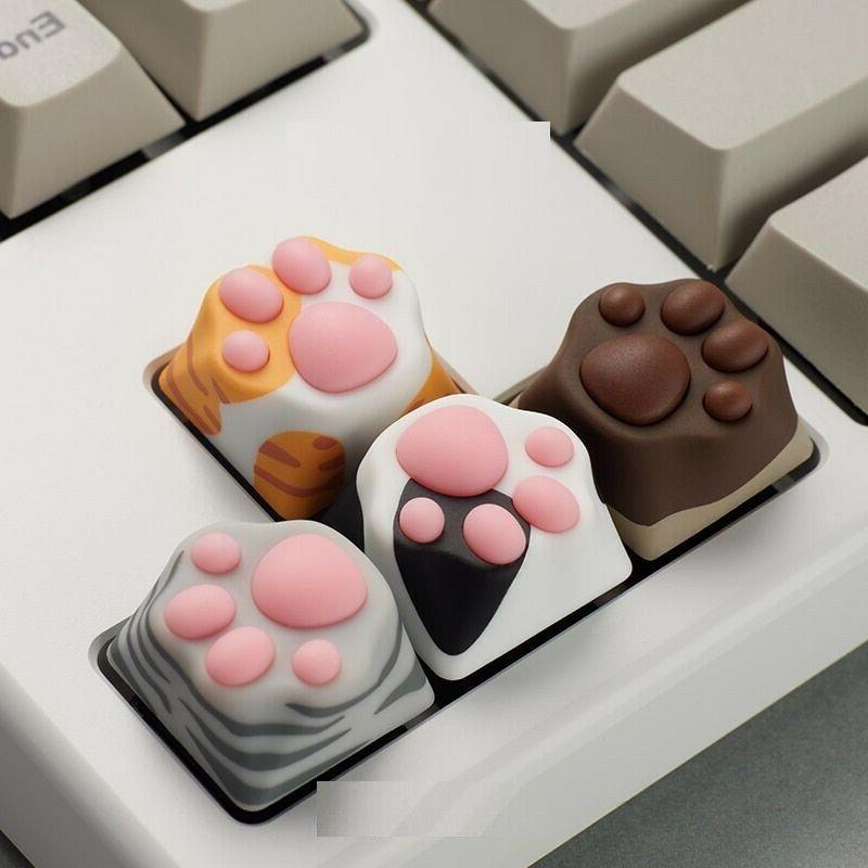 Silicon Mechanical Keyboard Key Caps ABS Cat Paw Keycaps Com