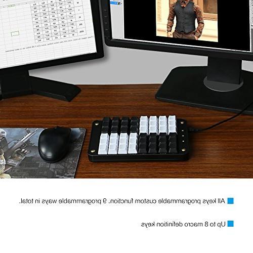 Koolertron Single-Handed Keyboard Red 48 Keys Tools Keypad,8 Macro Keys, PBT