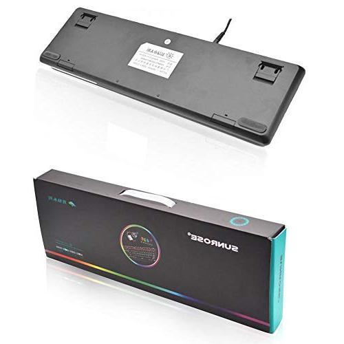 Alloet SUNROSE Wired Keyboard Waterproof 104 6-Color Backlight Gaming Keyboard Laptop Desktop PC