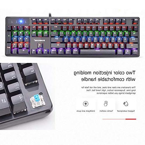 Alloet Wired Blue Switch Mechanical Keyboard 6-Color RGB Gaming Keyboard PC