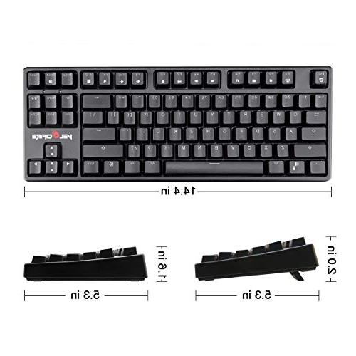 VELOCIFIRE TKL02 Key Keyboard with Brown Switches, White LED Typists, and