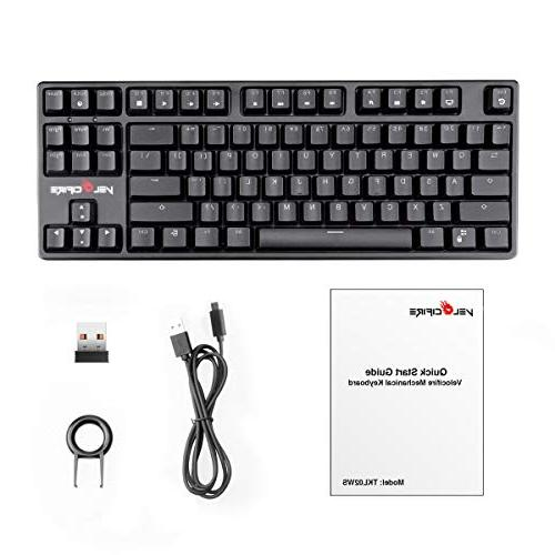VELOCIFIRE Wireless Key Brown Switches, LED Backlit for Typists, and Programmers