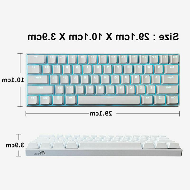 US Wireless LED Backlit Gaming Keyboard Usb Ergonomic RK61
