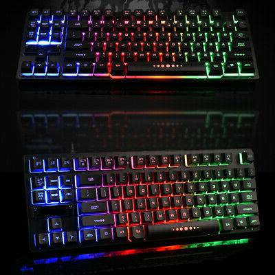 Ergonomic Wired Keyboard Keys Backlight Accessories