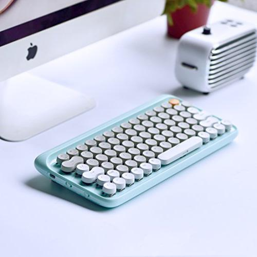 Vintage Keyboard LOFREE Four Wireless Mechanical for Mac, Android, Gateron Blue Rechargeable Battery
